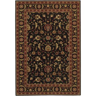 Best Price Decatur Power Loom Ebony/Black/Green Area Rug By Alcott Hill