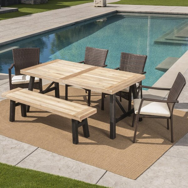 Polen Outdoor 6 Piece Dining Set with Cushions by 17 Stories
