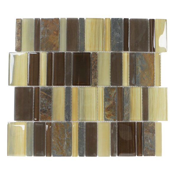 Watson Random Sized Glass/Stone/Slate Mosaic Tile in Brown and Tan by Mulia Tile