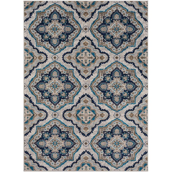 Kent Modern Medallion Taupe/Sky Blue Area Rug by Charlton Home
