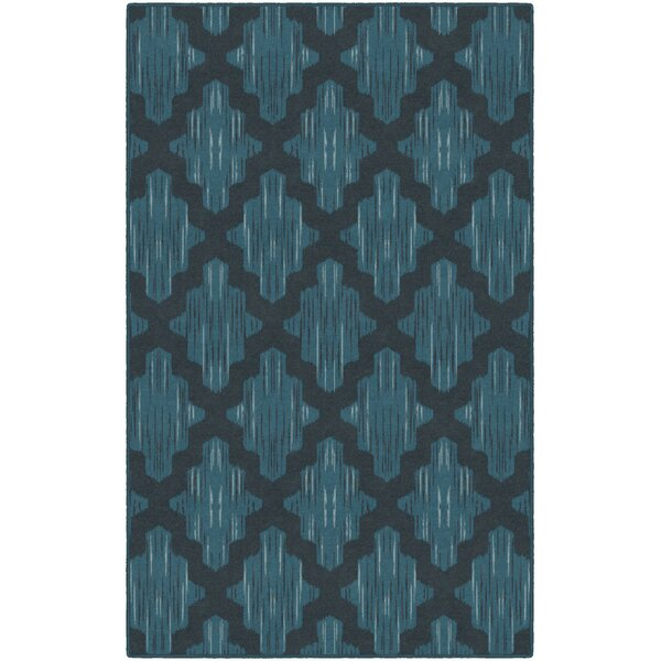 Flaherty Ikat Moroccan Trellis, Lattice Blue Area Rug by Wrought Studio