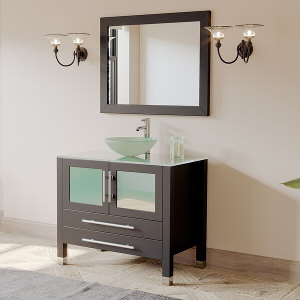 Amethyst 36 Single Bathroom Vanity Set with Mirror by Cambridge PlumbingAmethyst 36 Single Bathroom Vanity Set with Mirror by Cambridge Plumbing