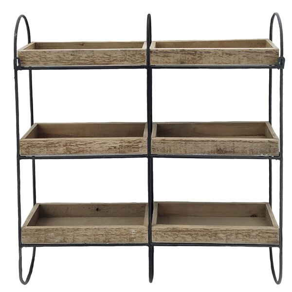 Mcelhaney Iron and Wood 3 Tier Wall Shelf by Millwood Pines
