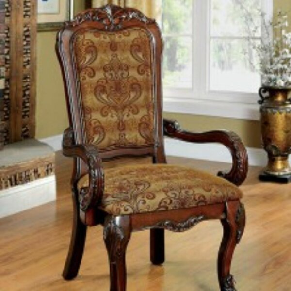 Choudhury Linen Upholstered Queen Anne Back Arm Chair in Brown (Set of 2) by Astoria Grand Astoria Grand