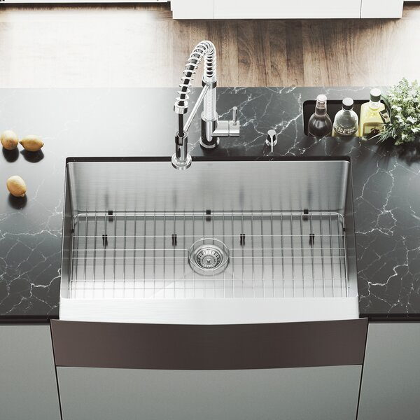 33 L x 22 W Farmhouse Kitchen Sink with Edison Stainless Steel Faucet, Grid, Strainer and Soap Dispenser by VIGO