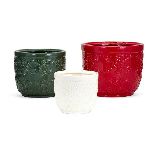 Christmas Snowflake 3-Piece Ceramic Pot Planter Set by The Holiday Aisle