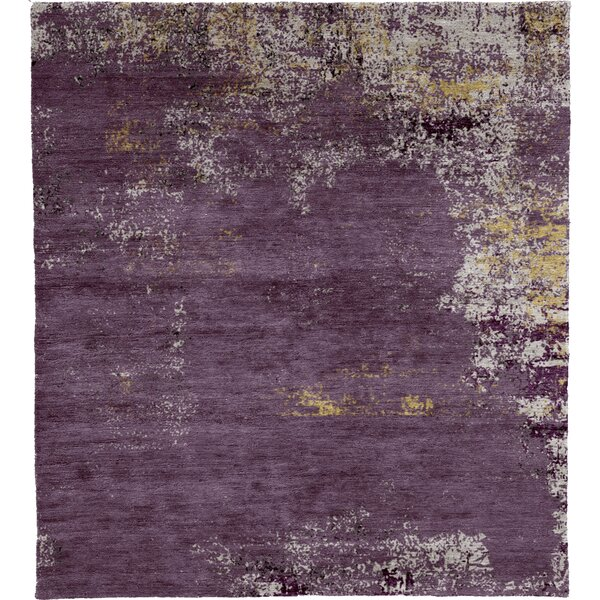 One-of-a-Kind Bensen Hand-Knotted Traditional Style Purple 6' x 9' Area Rug