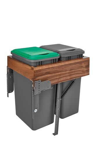 Top Mount Walnut Waste Container Pull Out /Under Counter Trash Can Compacter by Rev-A-Shelf