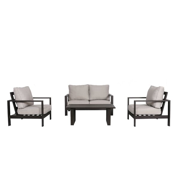 Buswell 4 Piece Sofa Set with Cushions by Foundry Select