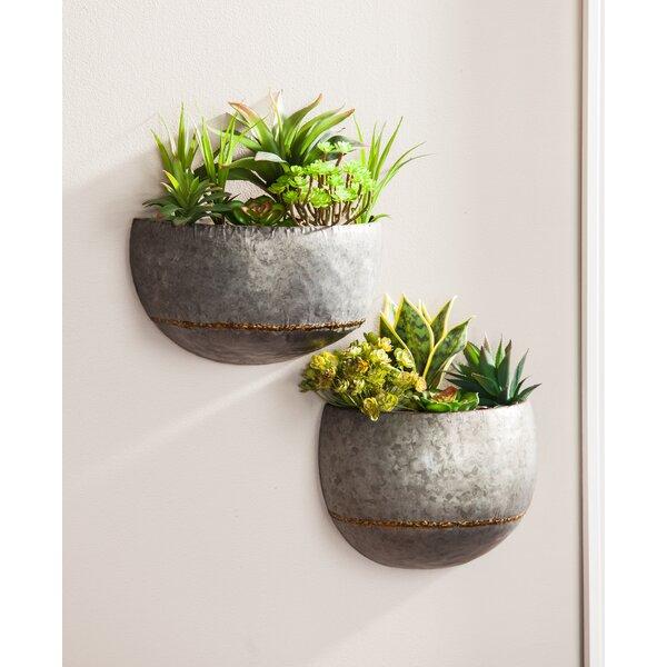 2-Piece Metal Wall Planter Set by Evergreen Enterprises, Inc