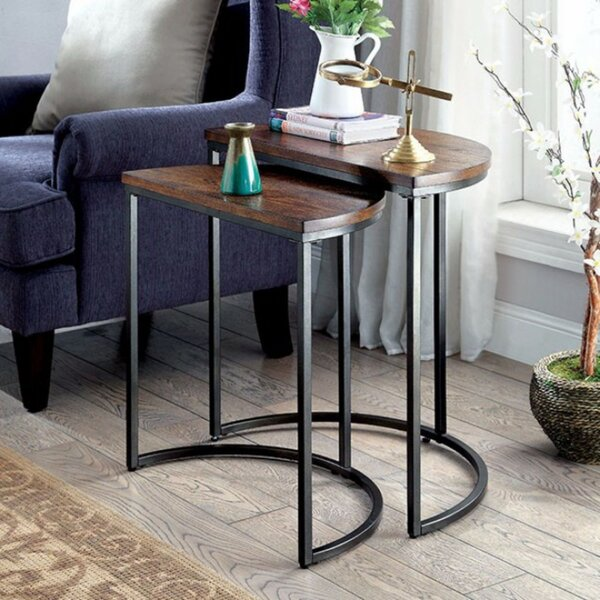 Logue Industrial 2 Piece Nesting Table Set by 17 Stories