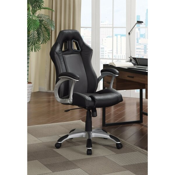 Saksena Sporty High-Back Leather Executive Chair by Ebern Designs
