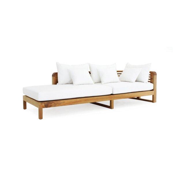 Hamilton Arm Right Teak Chaise Lounge with Cushion