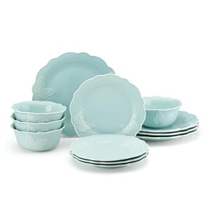 Meadowu00ae Butterfly Carved 12 Piece Dinnerware Set, Service for 4