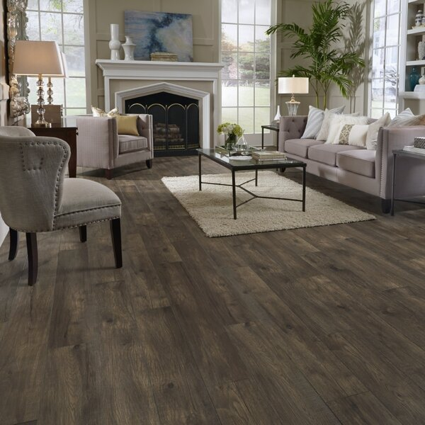 Restoration Wide Plank 8'' x 51'' x 12mm Hickory Laminate Flooring in Coal by Mannington