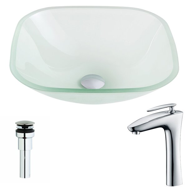 Vista Glass Square Vessel Bathroom Sink with Faucet by ANZZI