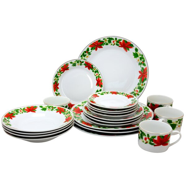 Poinsettia Holiday 20 Piece Dinnerware Set, Service for 4 by Gibson Home