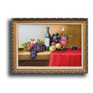 Bottle, Grape, Peach and Blue Berry' Framed Painting by Greenville Signature