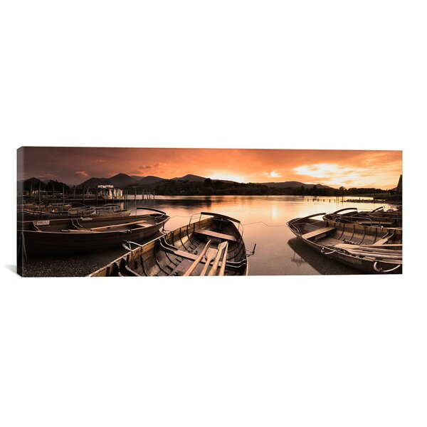 Panoramic Boats in a Lake, Derwent Water, Keswick, English Lake District, Cumbria, England Photographic Print on Canvas by iCanvas