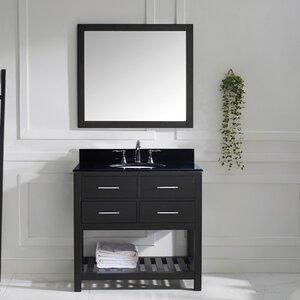 Rishaan 37″ Single Bathroom Vanity Set with Black Galaxy Top and Mirror