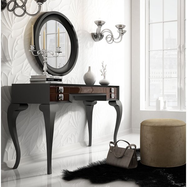 Kirkwood Bedroom Makeup Vanity Set with Mirror by Everly Quinn
