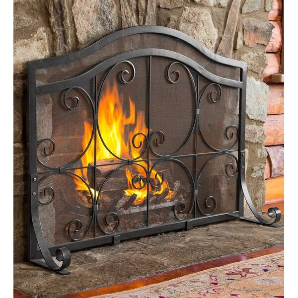 Single Panel Iron Fireplace Screen By Plow Hearth.