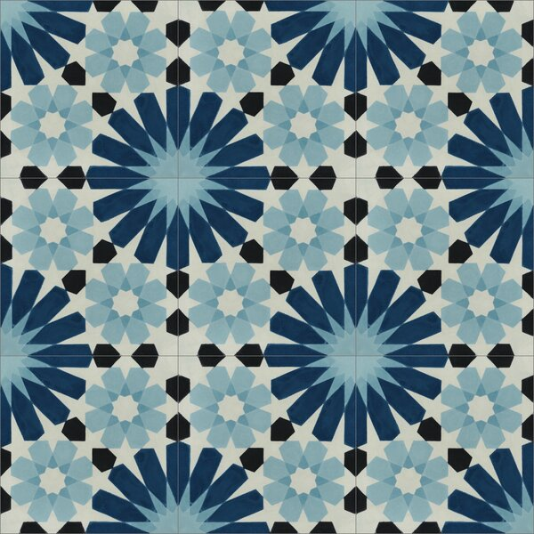Tangier 8 x 8 Cement Field Tile in Blue/Black/Cream by Villa Lagoon Tile