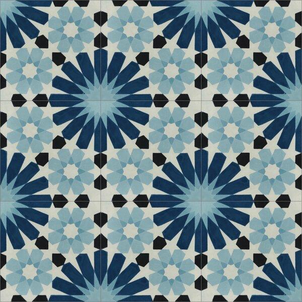 Tangier 8 x 8 Cement Field Tile in Blue/Black/Cream by Villa Lagoon Tile
