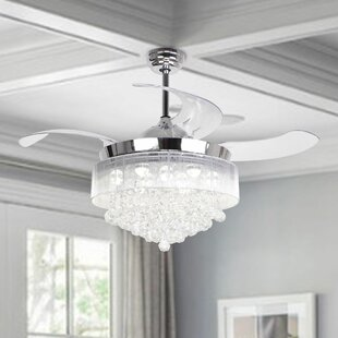 Blue Chrome Ceiling Fans With Lights Youll Love Wayfair