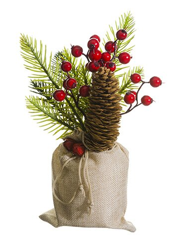 Berry, Pine Cone and Pine Centerpiece in Burlap Pot by The Holiday Aisle