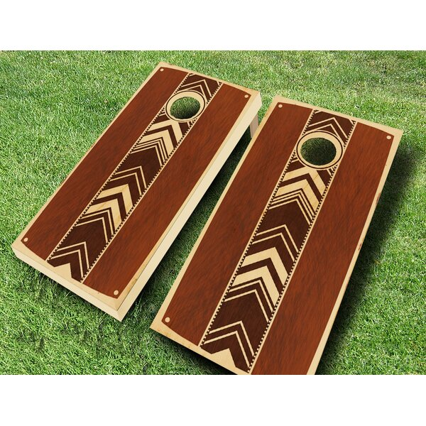 Retro Stained Dotted Chevron Cornhole Set by AJJ Cornhole