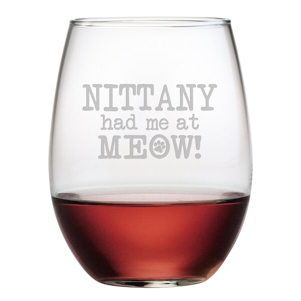 Personalized Had Me at Meow! 21 oz. Stemless Wine Glass (Set of 4) by Susquehanna Glass