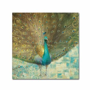 Teal Peacock on Gold by Danhui Nai Painting Print on Wrapped Canvas by Trademark Fine Art
