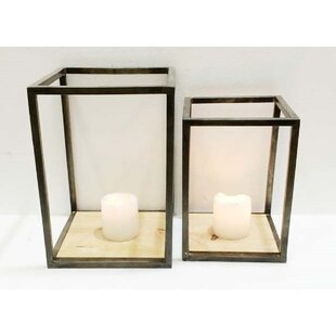 Online Reviews Pipe Case 2 Piece Metal and Glass Lantern Set By Gracie Oaks