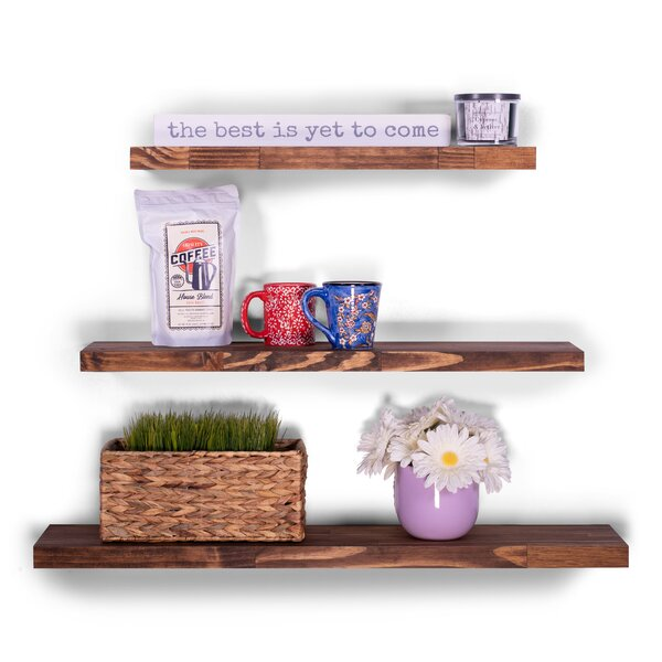 Haings Butcher Block Pine 3 Piece Wall Shelf Set by Union Rustic