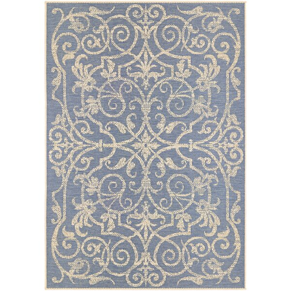 Peralez Ivory/Sapphire Indoor/Outdoor Area Rug by Lark Manor