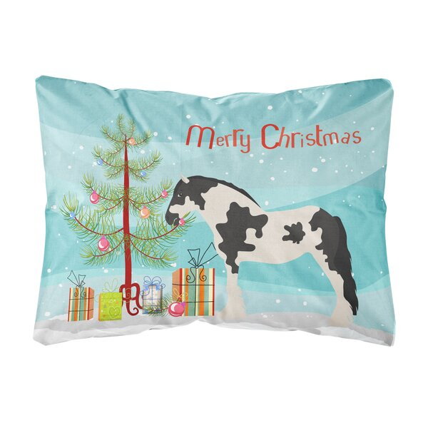 Huntington Clydesdale Horse Christmas Fabric Indoor/Outdoor Throw Pillow by The Holiday Aisle