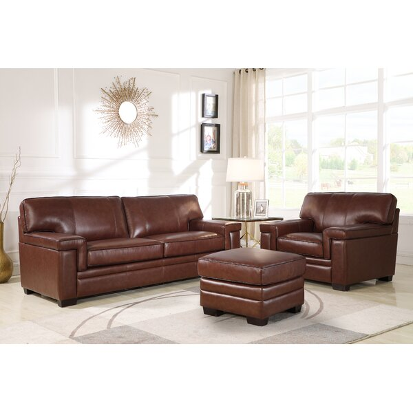 Ehmann 3 Piece Leather Living Room Set by Darby Home Co