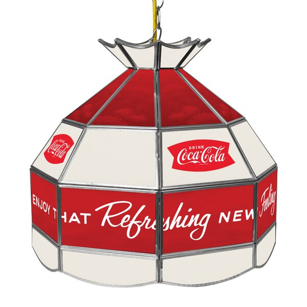 Coca Cola Arc Stained Glass 1-Light Pool Table Lights Pendant by Trademark Global