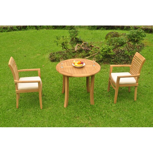 Moshe Luxurious 3 Piece Teak Bistro Set by Rosecliff Heights