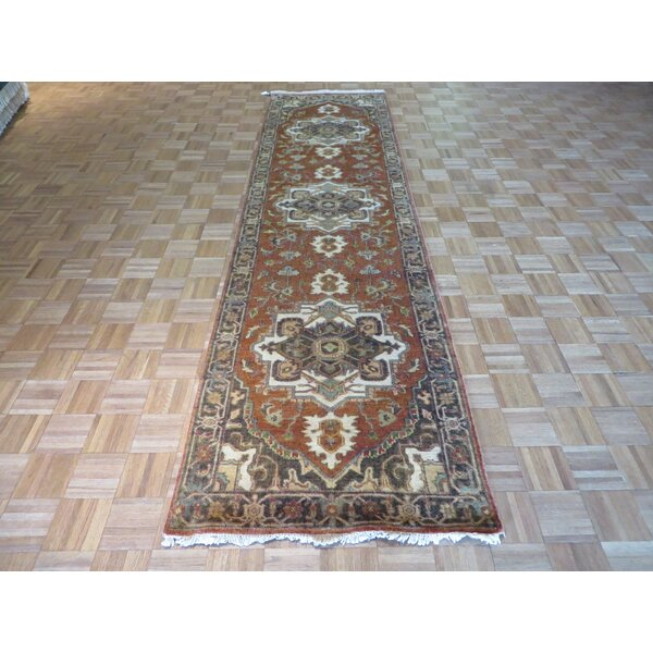 One-of-a-Kind Elbridge Antiqued Serapi Heriz Hand-Knotted Wool Rust Red Area Rug by Red Barrel Studio
