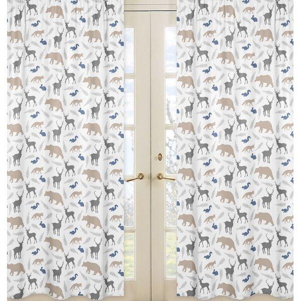 Woodland Animals Wildlife Sheer Rod Pocket Curtain Panels (Set of 2) by Sweet Jojo Designs