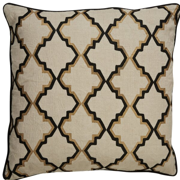 Brightwood Modern Tribal Pattern Square Linen Throw Pillow by Bungalow Rose