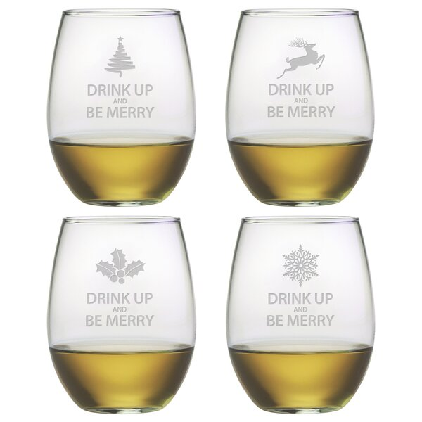 Drink Up Be Merry Stemless Wine Glass (Set of 4) b