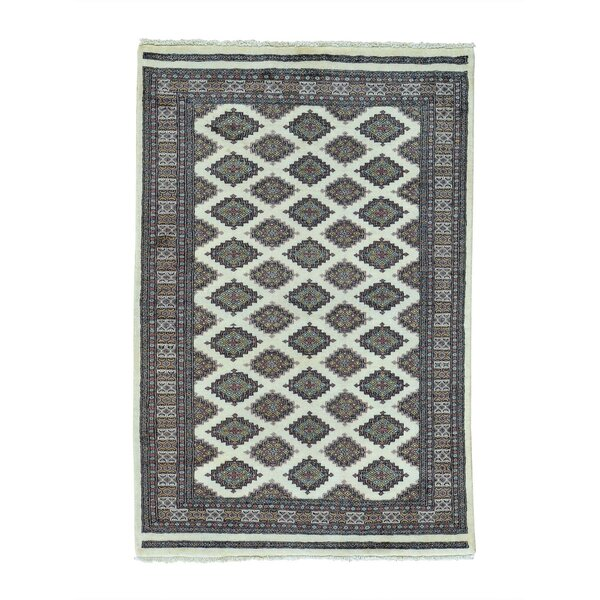 One-of-a-Kind Galligan Bokara Jaldar Oriental Hand-Knotted Ivory Area Rug by World Menagerie