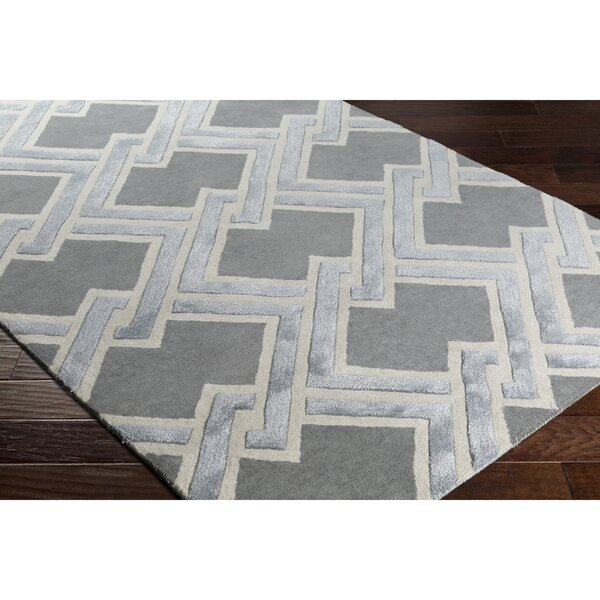 Vazquez Hand-Tufted Gray Area Rug by Wrought Studio