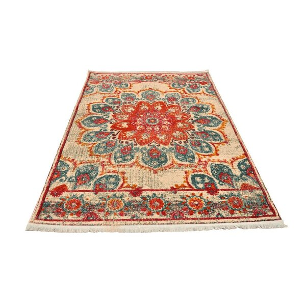 Toucha Vintage Cream/Orange/Aqua Area Rug by World Menagerie