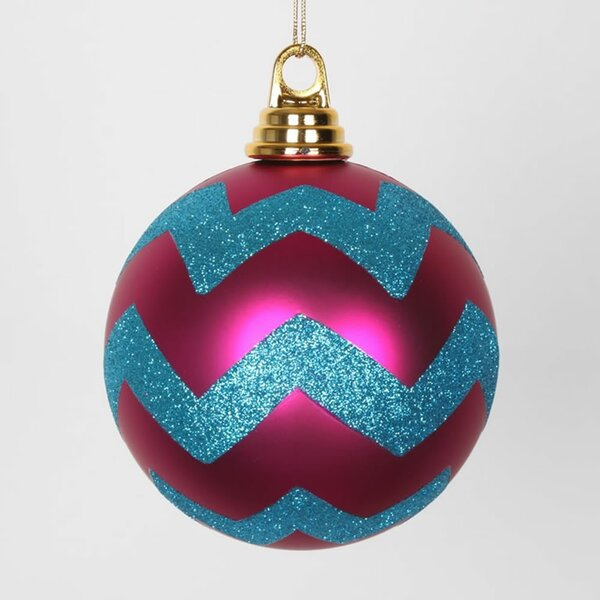 Glitter Chevron Shatterproof Christmas Ball Ornament by The Holiday Aisle