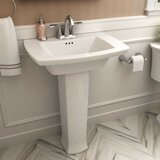 Edgemere 29.3 Tall White Ceramic Rectangular Pedestal Bathroom Sink with Overflow by American Standard