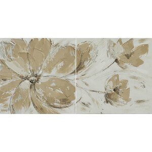 'Flower and Nature' 2 Piece Oil Painting Print Set on Canvas in Cream/Ivory/Light gold by La Kasa, LLC